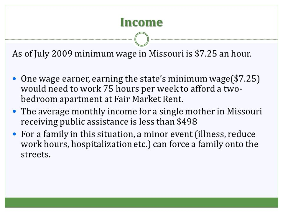Income As of July 2009 minimum wage in Missouri is $7.25 an hour.