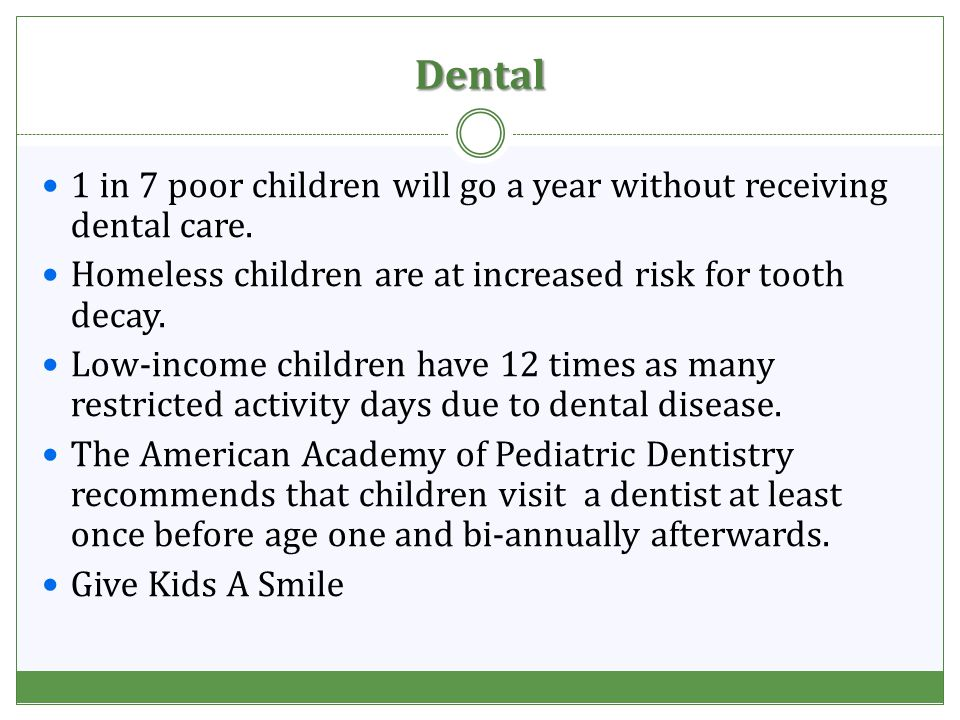 Dental 1 in 7 poor children will go a year without receiving dental care.