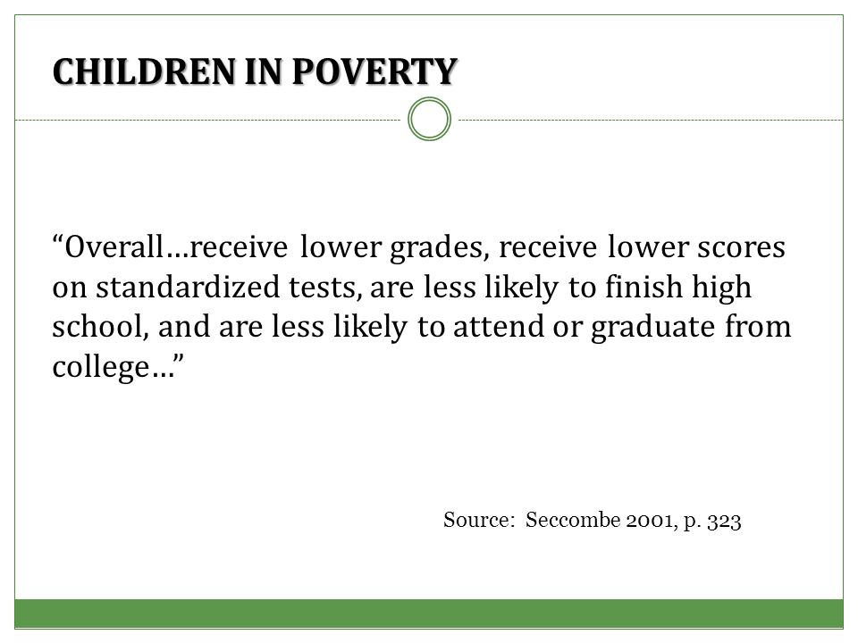 CHILDREN IN POVERTY Overall…receive lower grades, receive lower scores on standardized tests, are less likely to finish high school, and are less likely to attend or graduate from college… Source: Seccombe 2001, p.