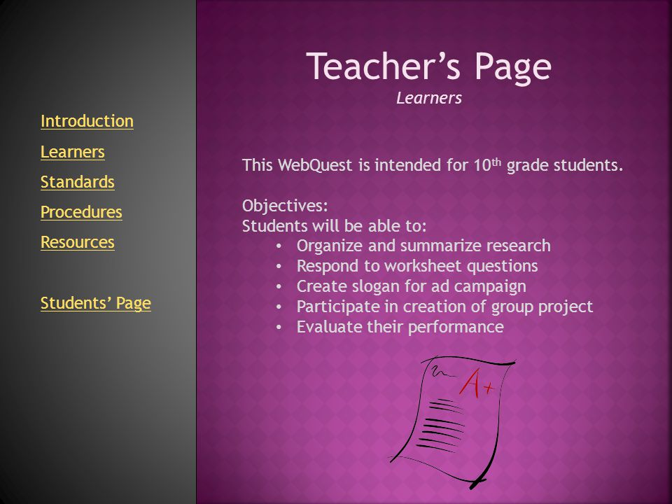 Teacher's Page Standards Pennsylvania State Standards for Reading & Writing 1.1 Learning to Read Independently Apply Comprehension & Interpretation Skills 1.2 Reading Critically in All Content Areas Differentiate Detail Examine Analysis & Evaluation 1.4 Types of Writing Analyze & Create Persuasive 1.5 Quality of Writing Write w/ Sharp Distinct Focus Write Using Well-developed content 1.6 Speaking & Listening Listen to Others Participate in Group Presentations 1.8 Research Locate Information Organize Main Ideas Summarize Main Ideas Present Main Ideas Introduction Learners Standards Procedures Resources Students' Page