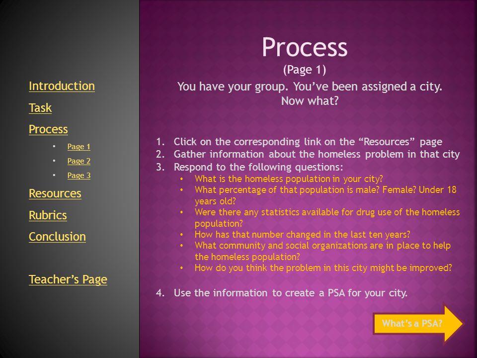 Process (Page 2) What is a PSA.A PSA is a Public Service Announcement.
