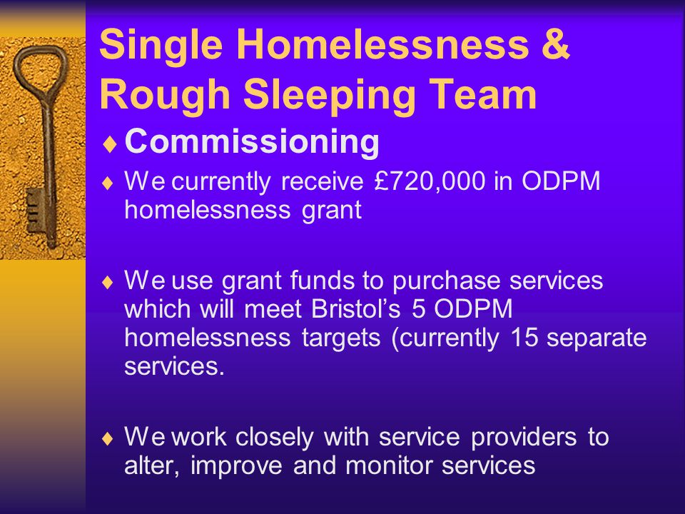 Bristol's Homelessness Strategy The team is responsible for:  Bringing together the strategy (published August 2003)  Coordinating the Strategy Action Plan  Working in wide partnership to ensure that project developments meet Strategy priorities  Facilitating a range of Homelessness Consortium meetings and forums