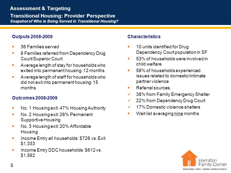 5 Assessment & Targeting Transitional Housing: Provider Perspective Snapshot of Who is Being Served in Transitional Housing.