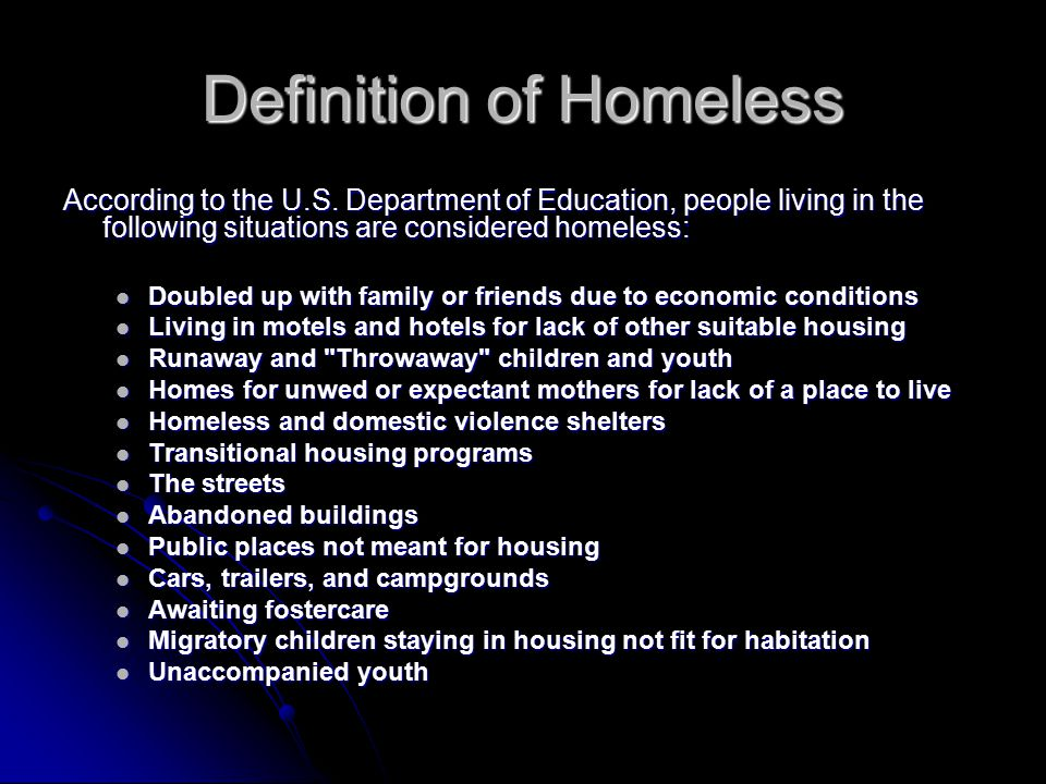 Definition of Homeless According to the U.S.