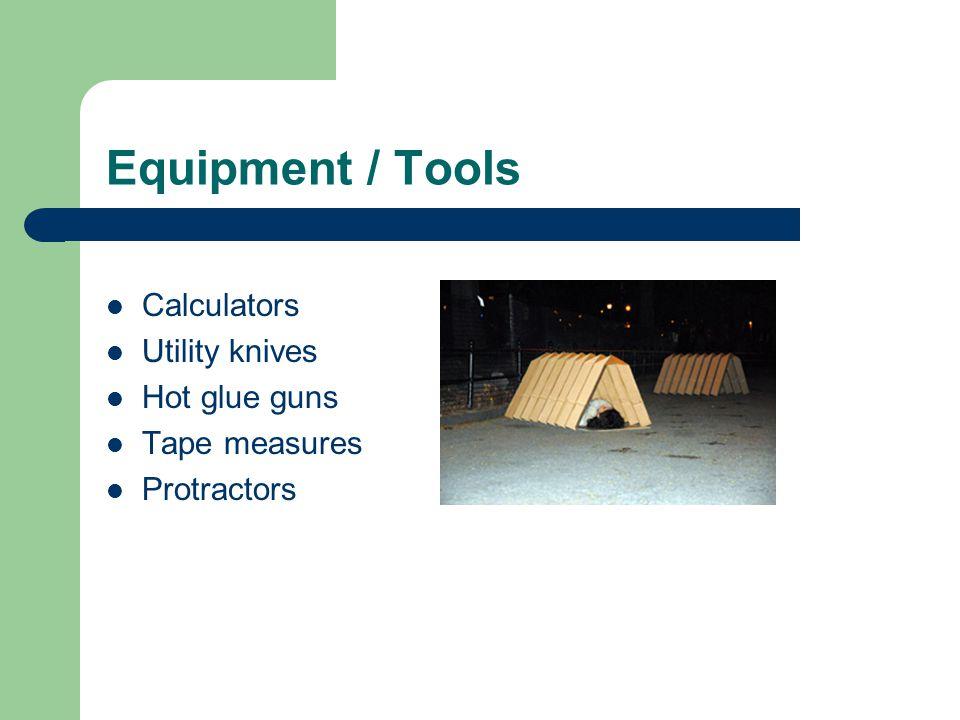 Equipment / Tools Calculators Utility knives Hot glue guns Tape measures Protractors