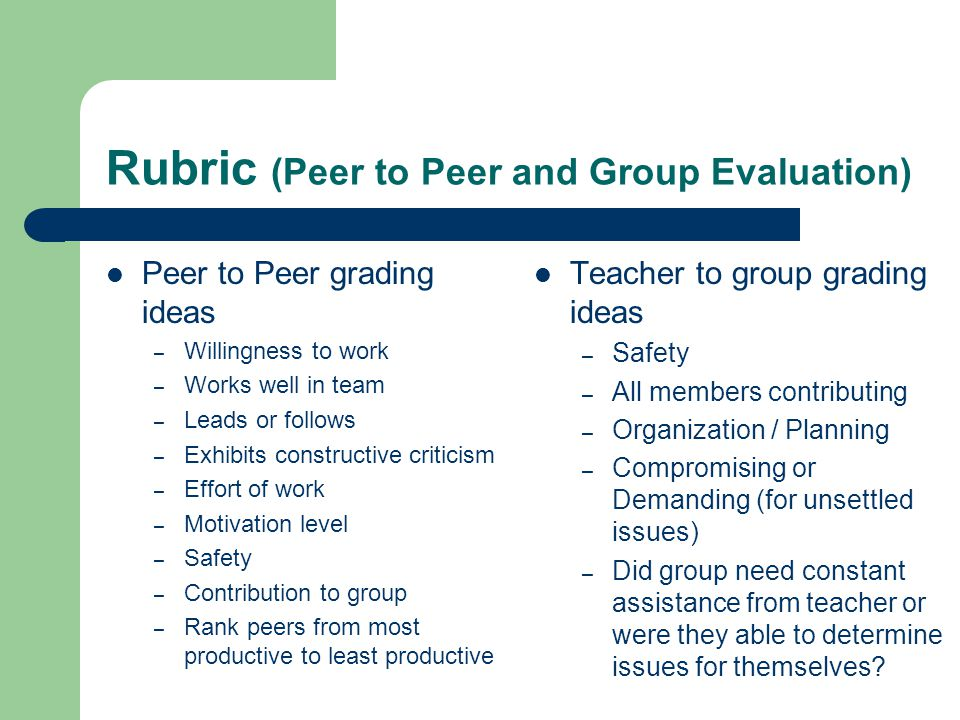 Rubric (Peer to Peer and Group Evaluation) Peer to Peer grading ideas – Willingness to work – Works well in team – Leads or follows – Exhibits constructive criticism – Effort of work – Motivation level – Safety – Contribution to group – Rank peers from most productive to least productive Teacher to group grading ideas – Safety – All members contributing – Organization / Planning – Compromising or Demanding (for unsettled issues) – Did group need constant assistance from teacher or were they able to determine issues for themselves