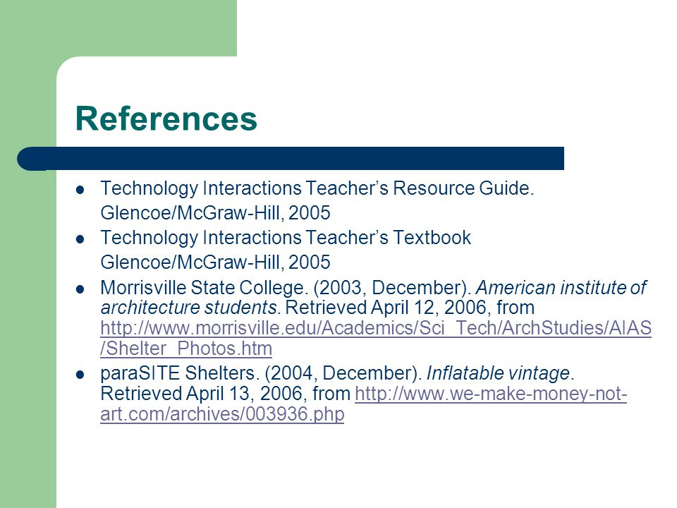 References Technology Interactions Teacher's Resource Guide.