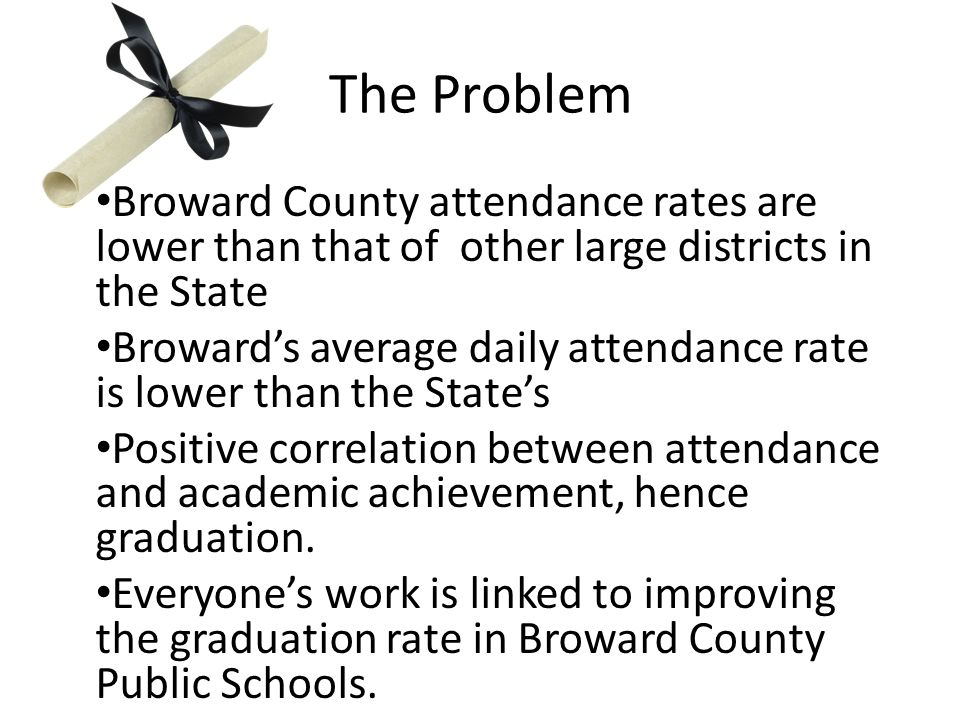 The Problem Broward County attendance rates are lower than that of other large districts in the State Broward's average daily attendance rate is lower than the State's Positive correlation between attendance and academic achievement, hence graduation.