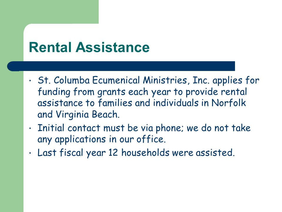 Rental Assistance St. Columba Ecumenical Ministries, Inc.