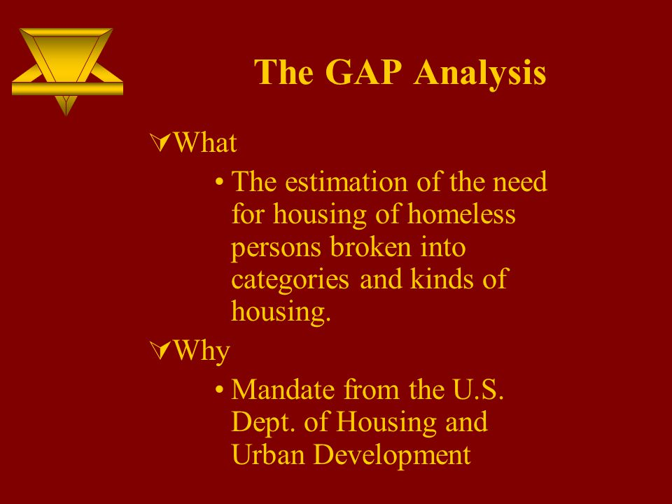 The GAP Analysis  What The estimation of the need for housing of homeless persons broken into categories and kinds of housing.