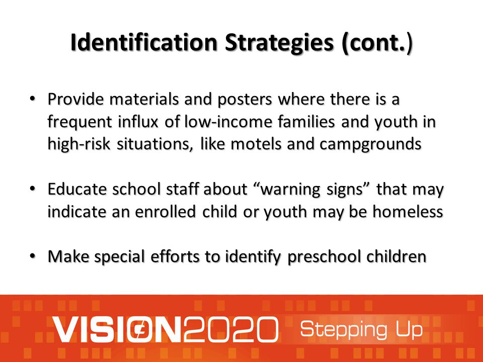 Identification Strategies (cont.) Provide materials and posters where there is a frequent influx of low-income families and youth in high-risk situati