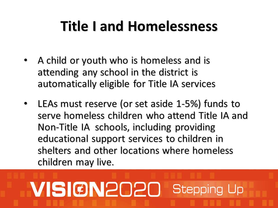 Title I and Homelessness A child or youth who is homeless and is attending any school in the district is automatically eligible for Title IA services A child or youth who is homeless and is attending any school in the district is automatically eligible for Title IA services LEAs must reserve (or set aside 1-5%) funds to serve homeless children who attend Title IA and Non-Title IA schools, including providing educational support services to children in shelters and other locations where homeless children may live.