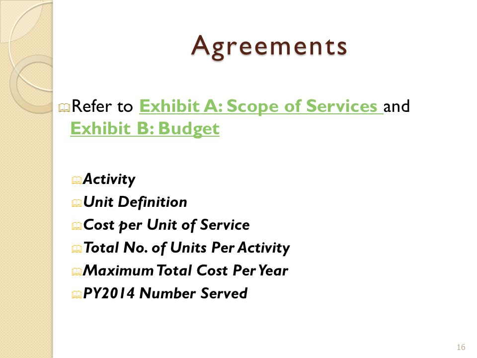 Agreements  Refer to Exhibit A: Scope of Services and Exhibit B: BudgetExhibit A: Scope of Services Exhibit B: Budget  Activity  Unit Definition 