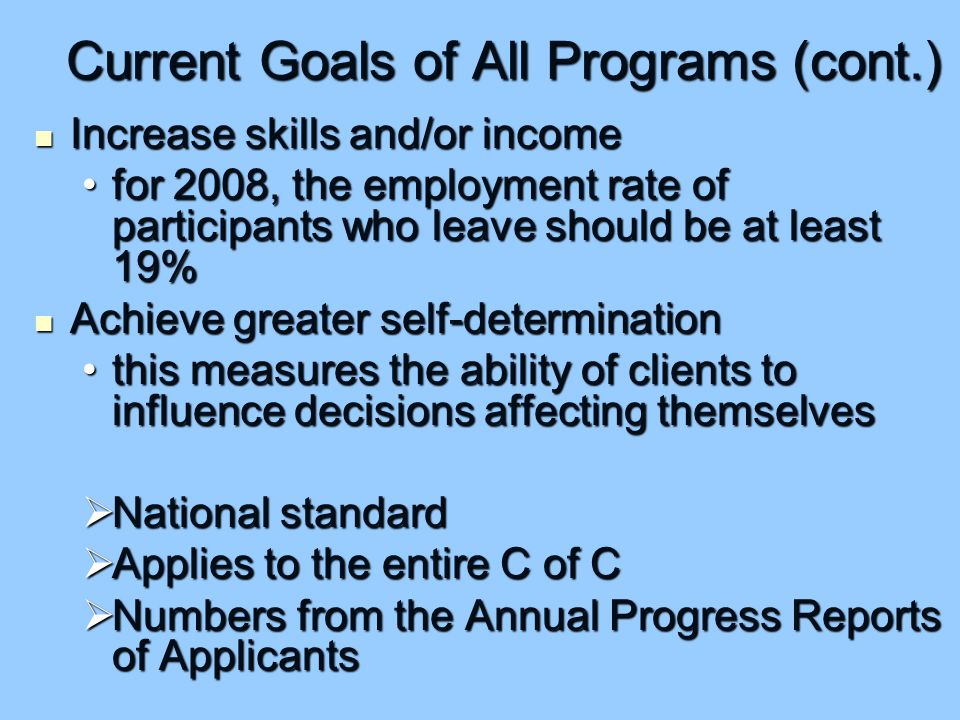 Current Goals of All Programs (cont.) Increase skills and/or income Increase skills and/or income for 2008, the employment rate of participants who leave should be at least 19%for 2008, the employment rate of participants who leave should be at least 19% Achieve greater self-determination Achieve greater self-determination this measures the ability of clients to influence decisions affecting themselvesthis measures the ability of clients to influence decisions affecting themselves  National standard  Applies to the entire C of C  Numbers from the Annual Progress Reports of Applicants
