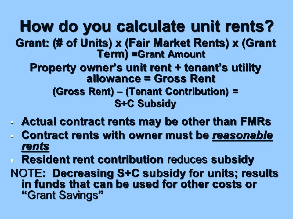 How do you calculate unit rents.