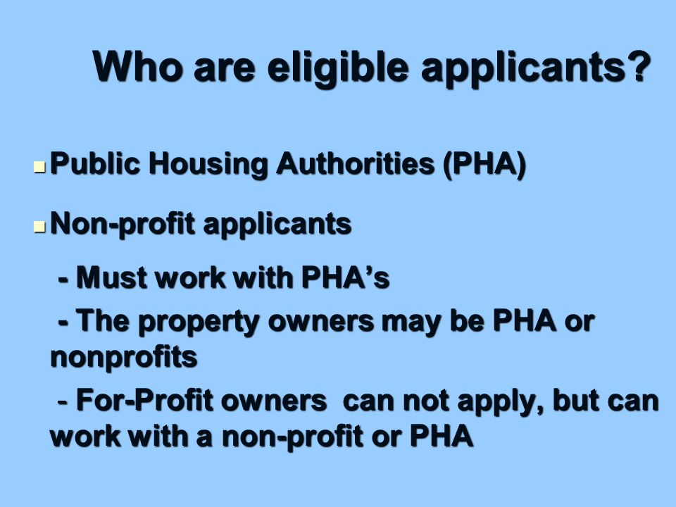 Who are eligible applicants.