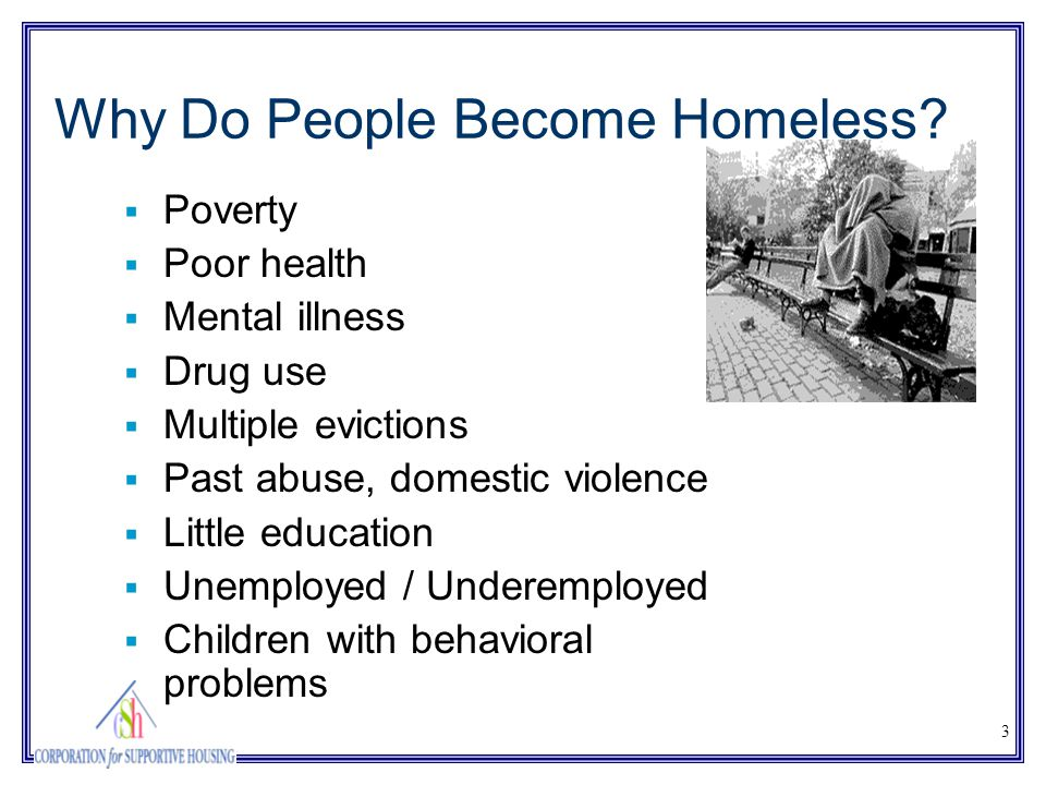 3 Why Do People Become Homeless?  Poverty  Poor health  Mental illness  Drug use  Multiple evictions  Past abuse, domestic violence  Little edu