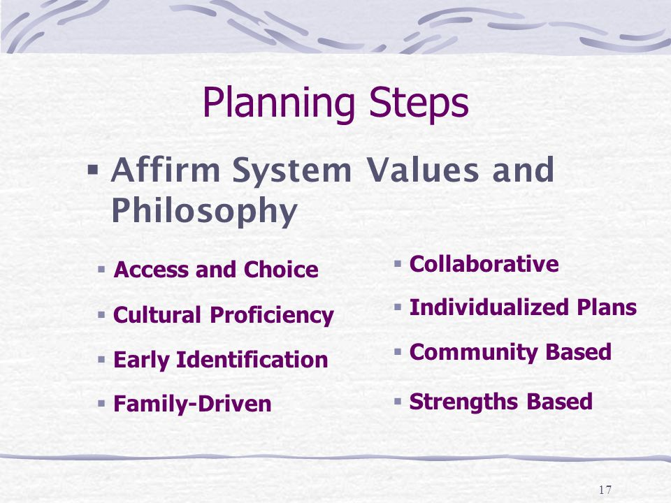 17 Planning Steps  Affirm System Values and Philosophy  Access and Choice  Cultural Proficiency  Early Identification  Family-Driven  Collaborative  Individualized Plans  Community Based  Strengths Based