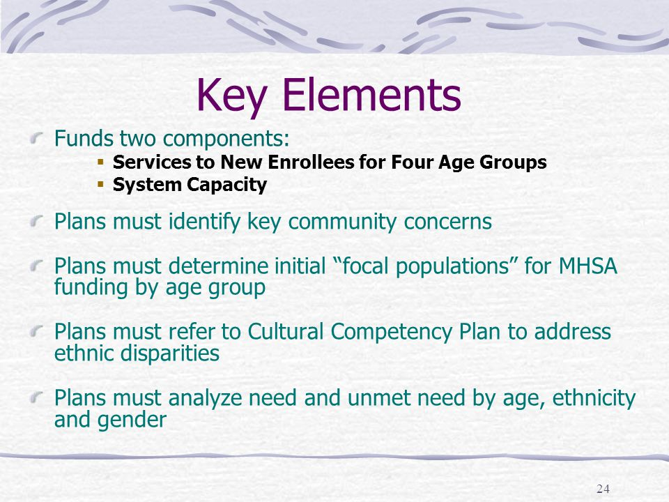 24 Key Elements Funds two components:  Services to New Enrollees for Four Age Groups  System Capacity Plans must identify key community concerns Plans must determine initial focal populations for MHSA funding by age group Plans must refer to Cultural Competency Plan to address ethnic disparities Plans must analyze need and unmet need by age, ethnicity and gender
