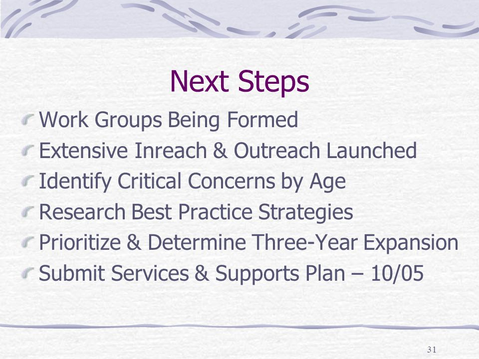 31 Next Steps Work Groups Being Formed Extensive Inreach & Outreach Launched Identify Critical Concerns by Age Research Best Practice Strategies Prioritize & Determine Three-Year Expansion Submit Services & Supports Plan – 10/05
