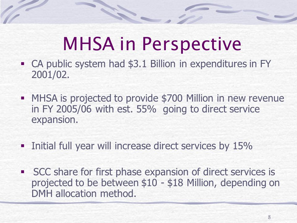 8 MHSA in Perspective  CA public system had $3.1 Billion in expenditures in FY 2001/02.