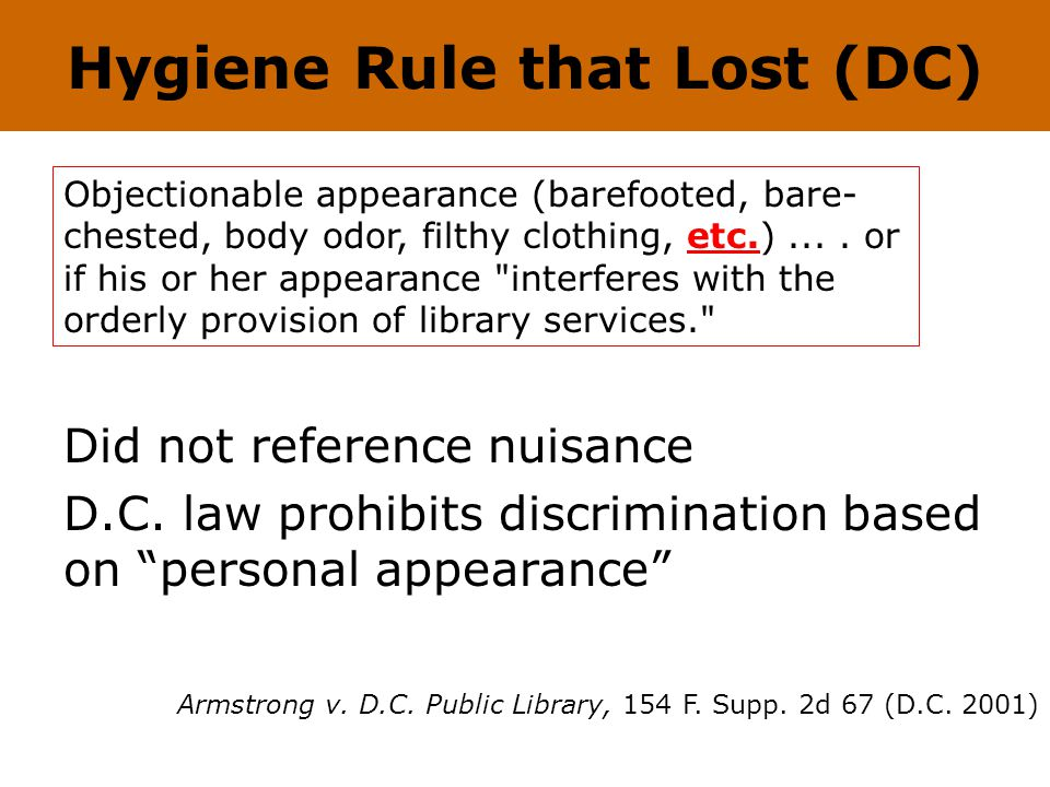 Hygiene Rule that Lost (DC) Did not reference nuisance D.C.