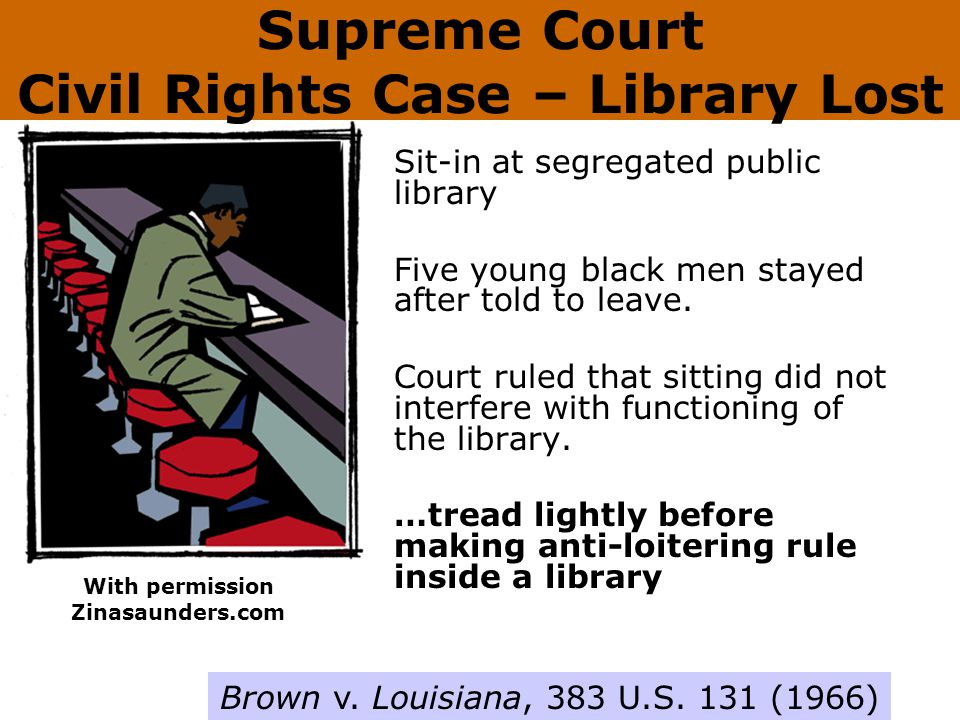 Supreme Court Civil Rights Case – Library Lost Sit-in at segregated public library Five young black men stayed after told to leave.