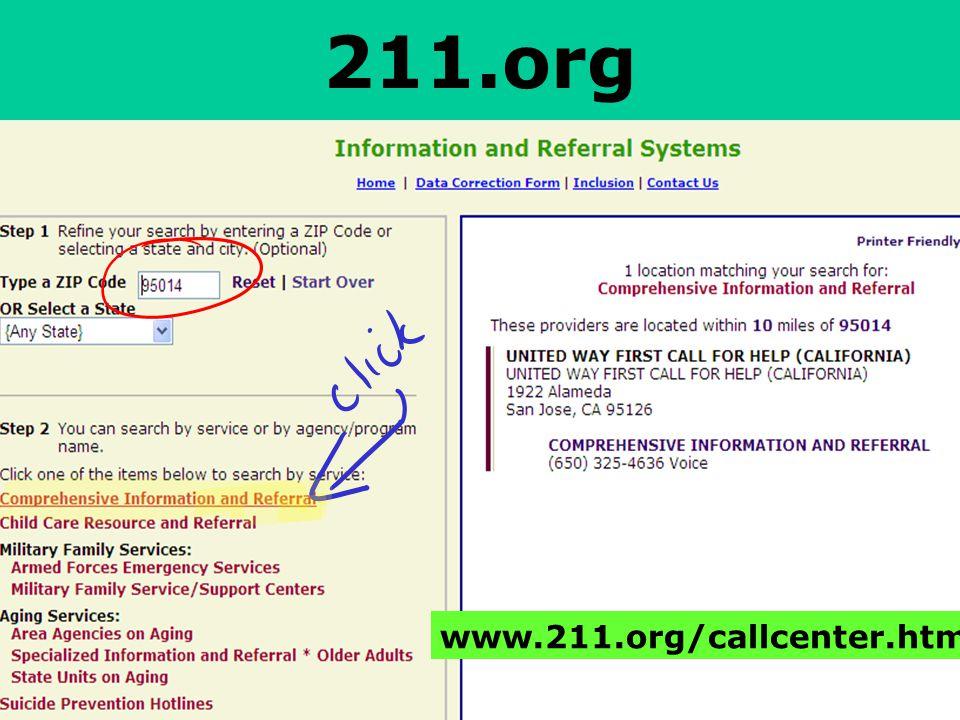 211.org www.211.org/callcenter.htm