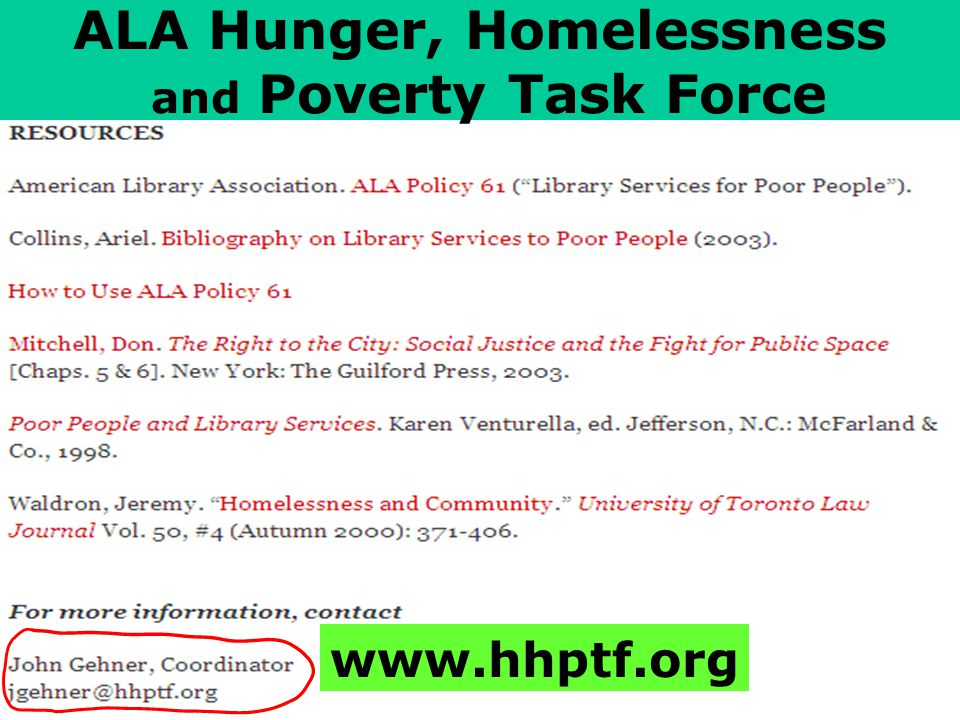 www.hhptf.org ALA Hunger, Homelessness and Poverty Task Force