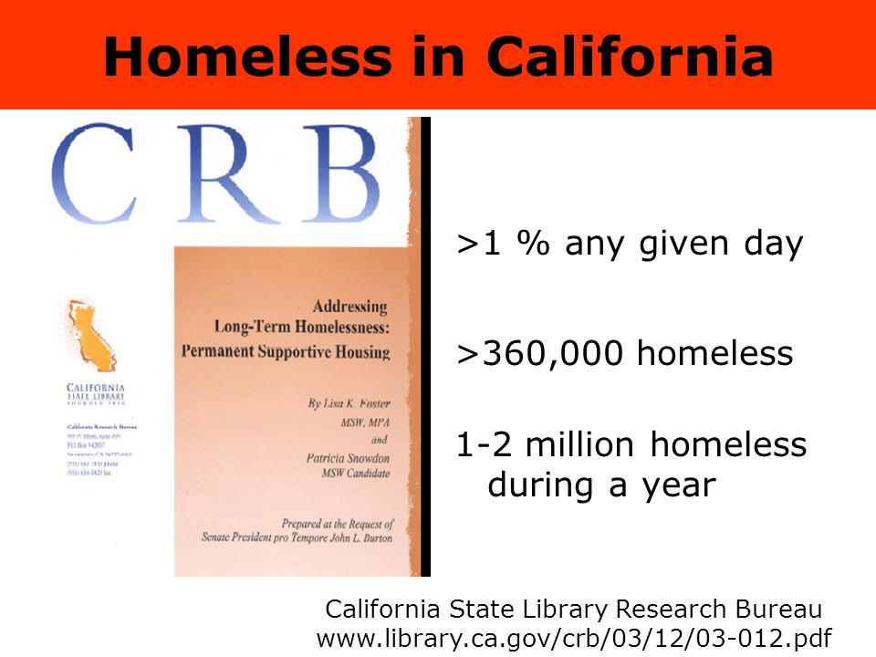 Homeless in California >1 % any given day >360,000 homeless 1-2 million homeless during a year California State Library Research Bureau www.library.ca.gov/crb/03/12/03-012.pdf