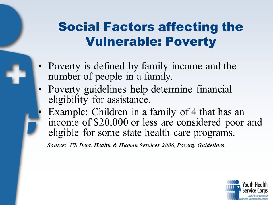 Social Factors affecting the Vulnerable: Poverty Poverty is defined by family income and the number of people in a family. Poverty guidelines help det