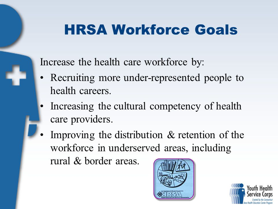 HRSA Workforce Goals Increase the health care workforce by: Recruiting more under-represented people to health careers. Increasing the cultural compet