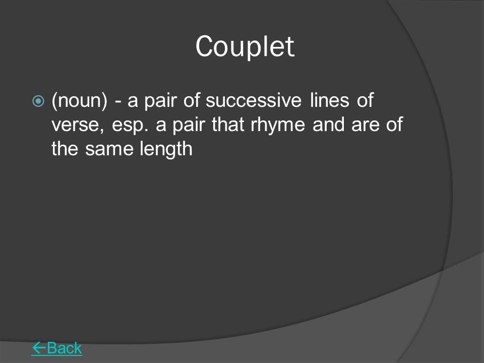 Couplet  (noun) - a pair of successive lines of verse, esp.