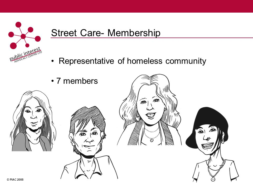 © PIAC 2008 Street Care Advise to HPLS Advise to Government agencies Run own advocacy campaigns