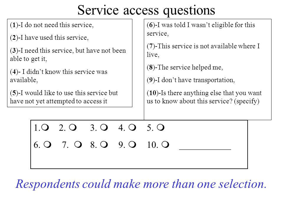 Service access questions (1)-I do not need this service, (2)-I have used this service, (3)-I need this service, but have not been able to get it, (4)- I didn't know this service was available, (5)-I would like to use this service but have not yet attempted to access it (6)-I was told I wasn't eligible for this service, (7)-This service is not available where I live, (8)-The service helped me, (9)-I don't have transportation, (10)-Is there anything else that you want us to know about this service.