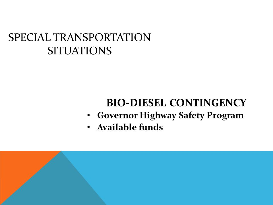 SPECIAL TRANSPORTATION SITUATIONS FUEL CONTINGENCY Legislative appropriated Reductions Available funds