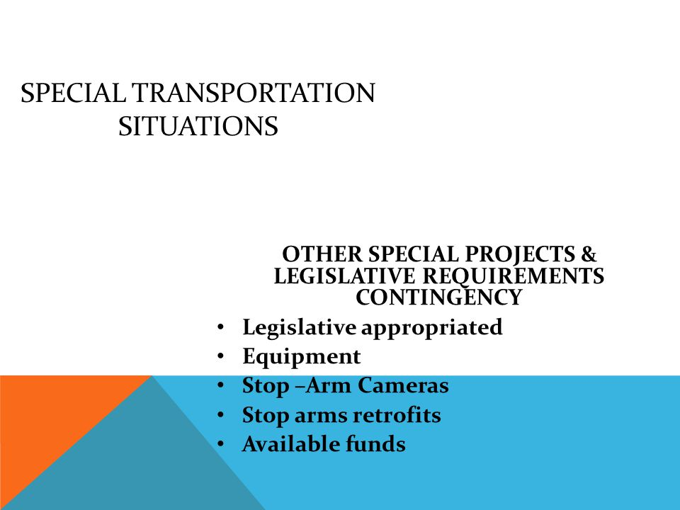 SPECIAL TRANSPORTATION SITUATIONS BIO-DIESEL CONTINGENCY Governor Highway Safety Program Available funds