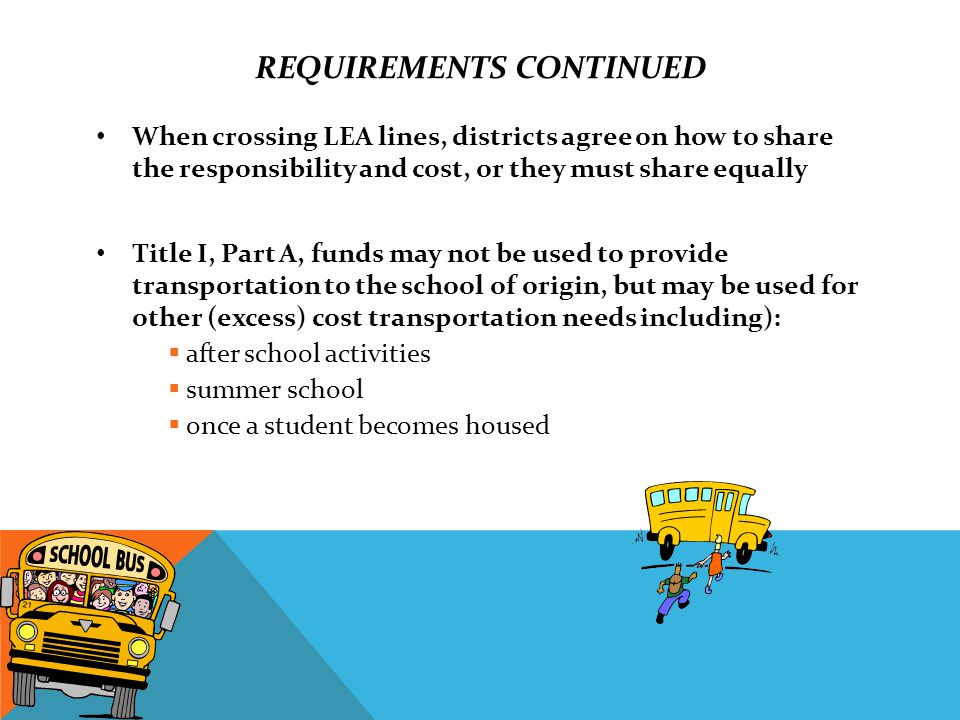 REQUIREMENTS CONTINUED When crossing LEA lines, districts agree on how to share the responsibility and cost, or they must share equally Title I, Part A, funds may not be used to provide transportation to the school of origin, but may be used for other (excess) cost transportation needs including):  after school activities  summer school  once a student becomes housed