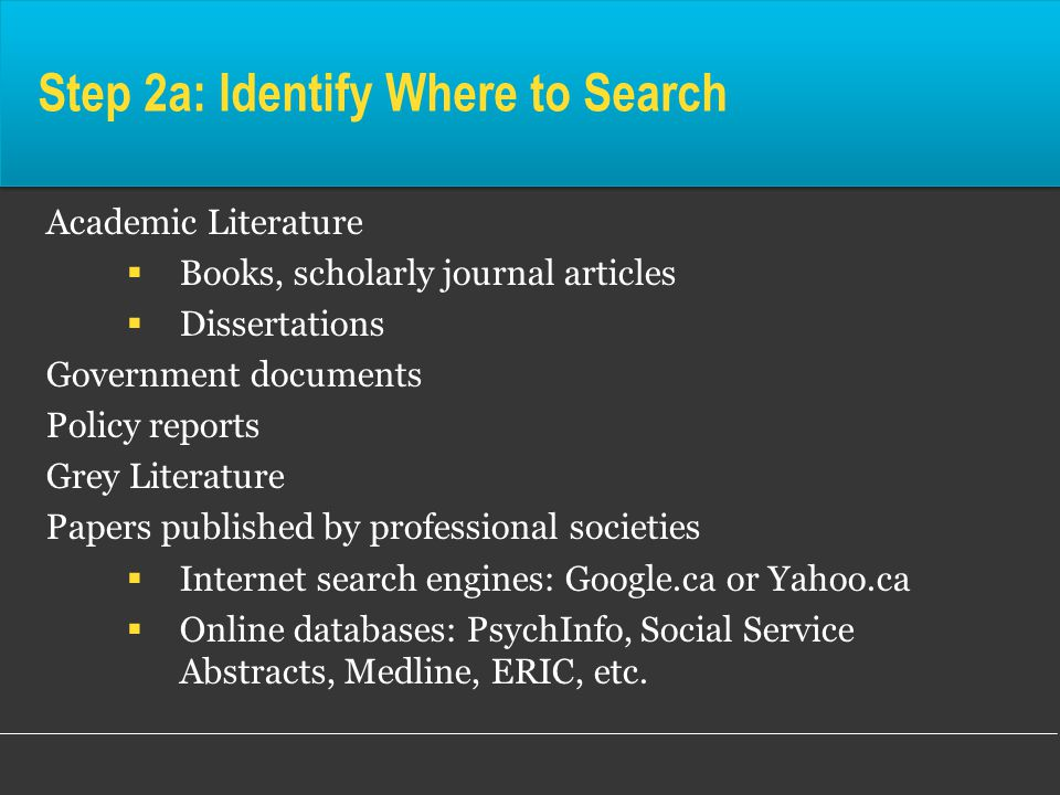 Step 2a: Identify Where to Search Academic Literature  Books, scholarly journal articles  Dissertations Government documents Policy reports Grey Literature Papers published by professional societies  Internet search engines: Google.ca or Yahoo.ca  Online databases: PsychInfo, Social Service Abstracts, Medline, ERIC, etc.
