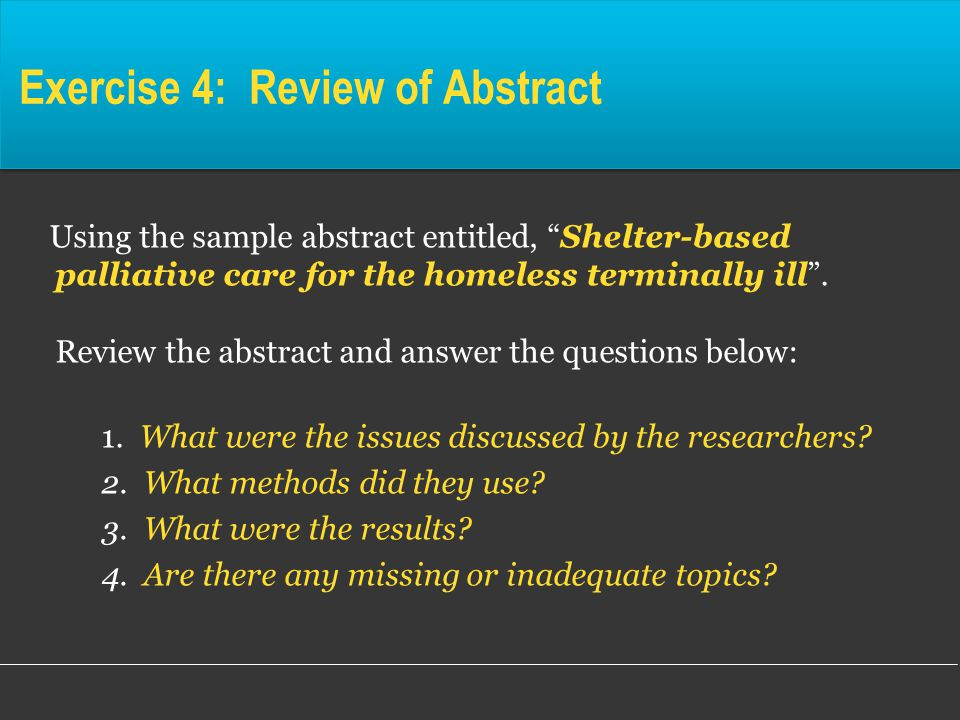 sample abstract paper on the homeless