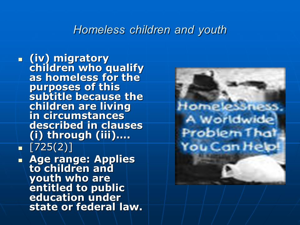 Homeless children and youth also include (iii) children and youths who are living in cars, parks, public spaces, abandoned buildings, substandard housing, bus or train stations, or similar settings; and (iii) children and youths who are living in cars, parks, public spaces, abandoned buildings, substandard housing, bus or train stations, or similar settings; and