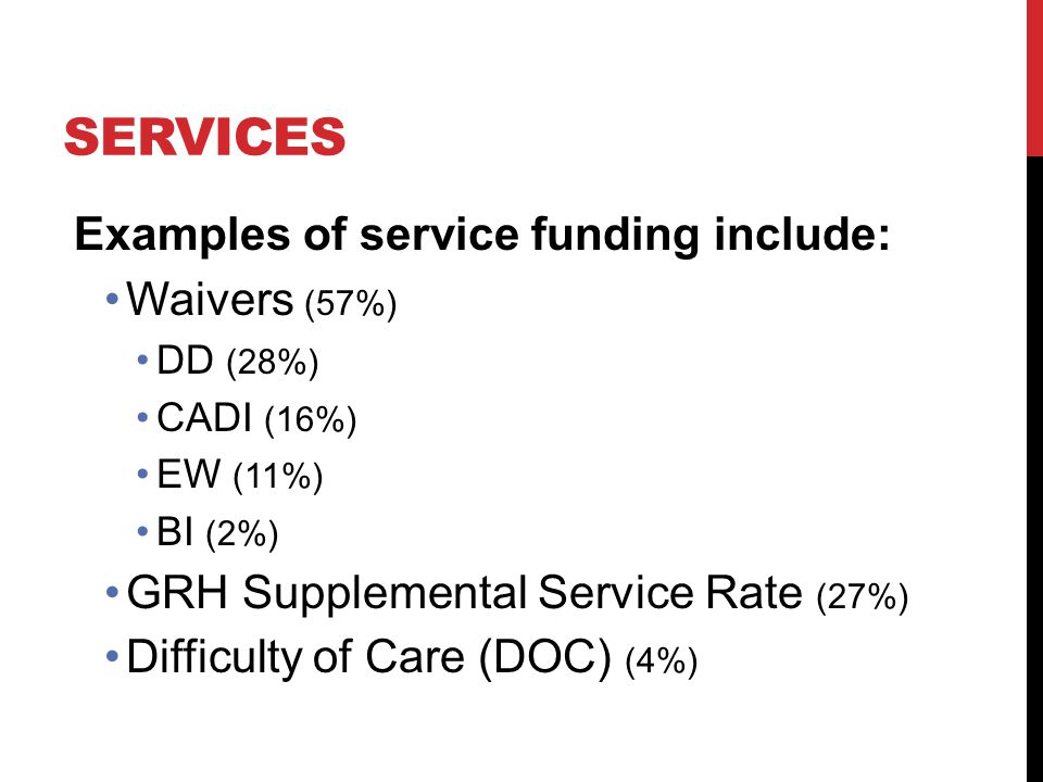 SERVICES Examples of service funding include: Waivers (57%) DD (28%) CADI (16%) EW (11%) BI (2%) GRH Supplemental Service Rate (27%) Difficulty of Car