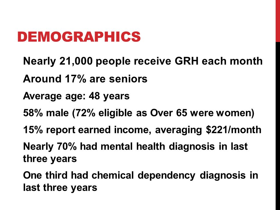 DEMOGRAPHICS Nearly 21,000 people receive GRH each month Around 17% are seniors Average age: 48 years 58% male (72% eligible as Over 65 were women) 15% report earned income, averaging $221/month Nearly 70% had mental health diagnosis in last three years One third had chemical dependency diagnosis in last three years