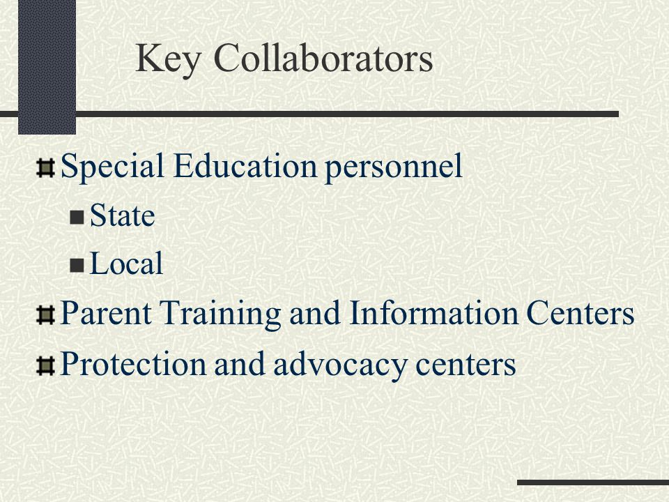 Key Collaborators Special Education personnel State Local Parent Training and Information Centers Protection and advocacy centers
