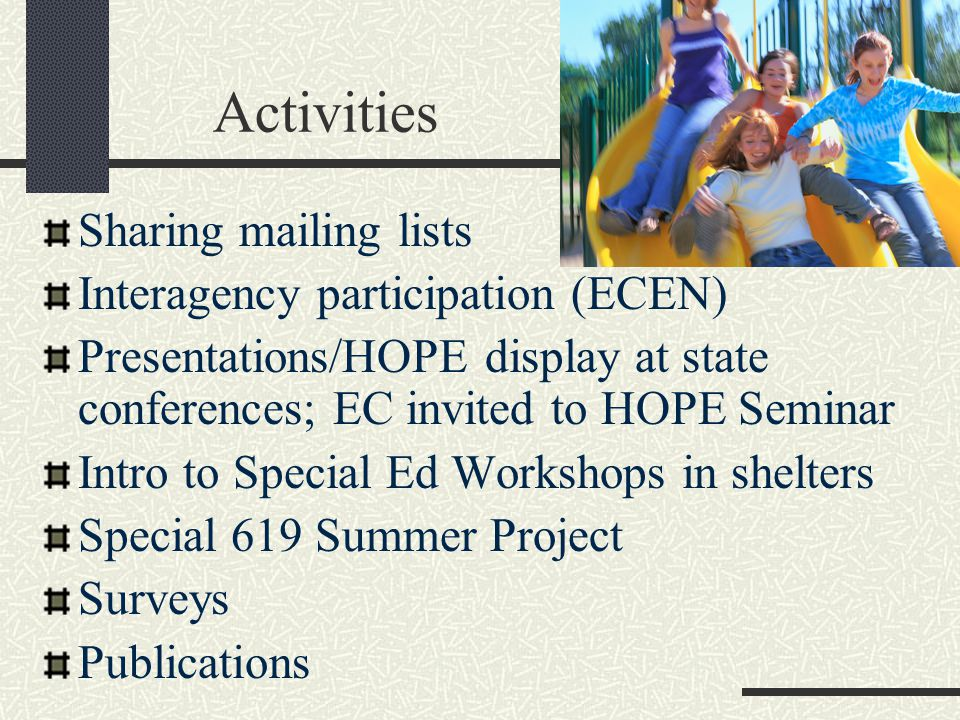 Activities Sharing mailing lists Interagency participation (ECEN) Presentations/HOPE display at state conferences; EC invited to HOPE Seminar Intro to Special Ed Workshops in shelters Special 619 Summer Project Surveys Publications