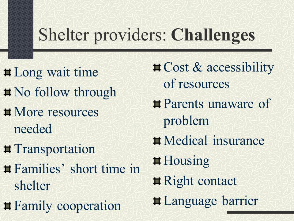 Shelter providers: Challenges Long wait time No follow through More resources needed Transportation Families' short time in shelter Family cooperation Cost & accessibility of resources Parents unaware of problem Medical insurance Housing Right contact Language barrier