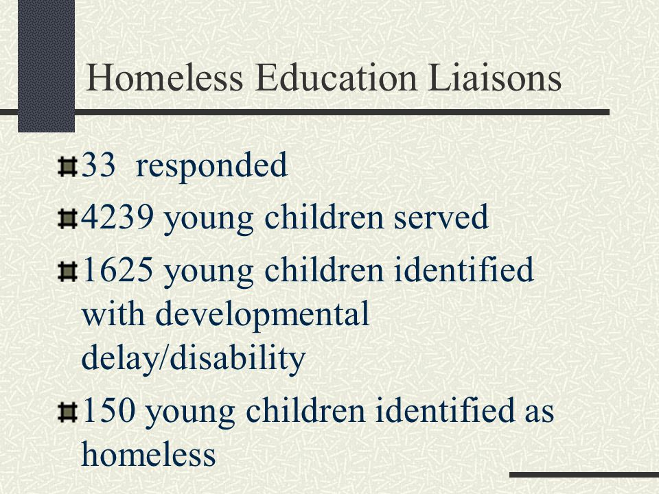 Homeless Education Liaisons 33 responded 4239 young children served 1625 young children identified with developmental delay/disability 150 young children identified as homeless