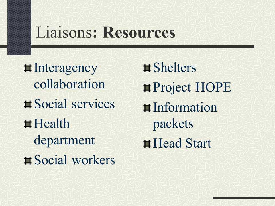 Liaisons: Resources Interagency collaboration Social services Health department Social workers Shelters Project HOPE Information packets Head Start