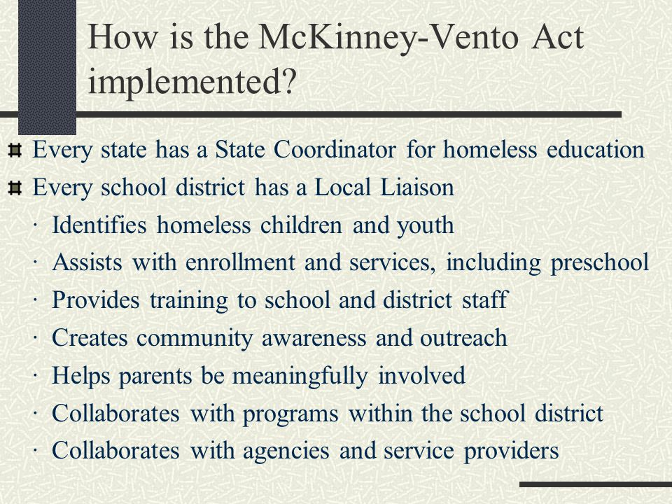 How is the McKinney-Vento Act implemented.