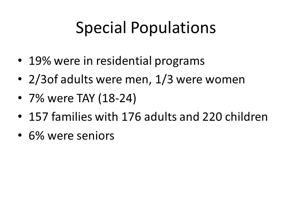 Special Populations 19% were in residential programs 2/3of adults were men, 1/3 were women 7% were TAY (18-24) 157 families with 176 adults and 220 ch